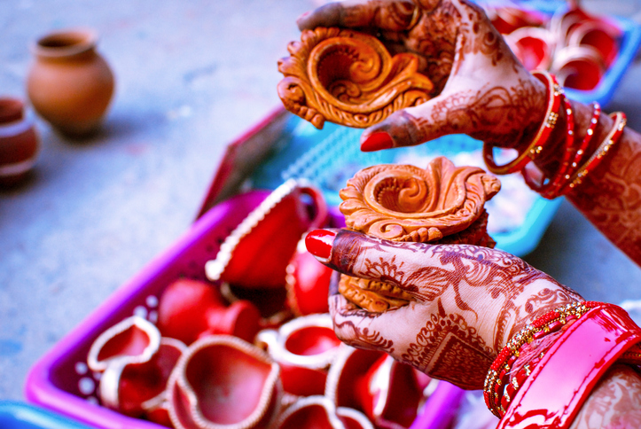 indian hands holding diwali decorations